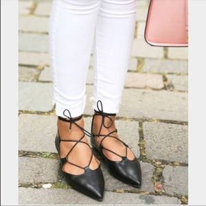 Topshop 'Kingdom' Leather Laceup PointedToe Flats
